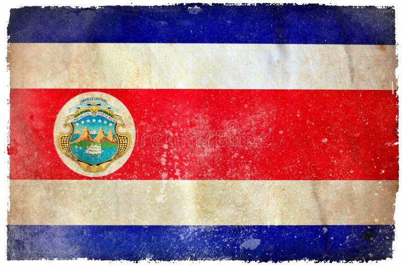 Costa Rica grungeflagga stock illustrationer