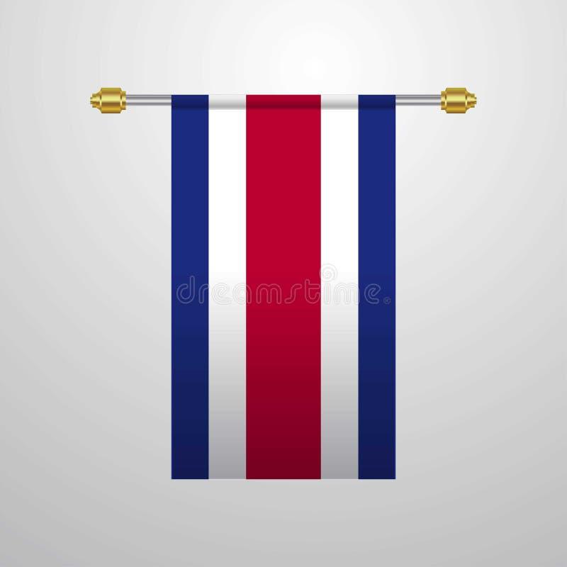 Costa Rica hängande flagga vektor illustrationer