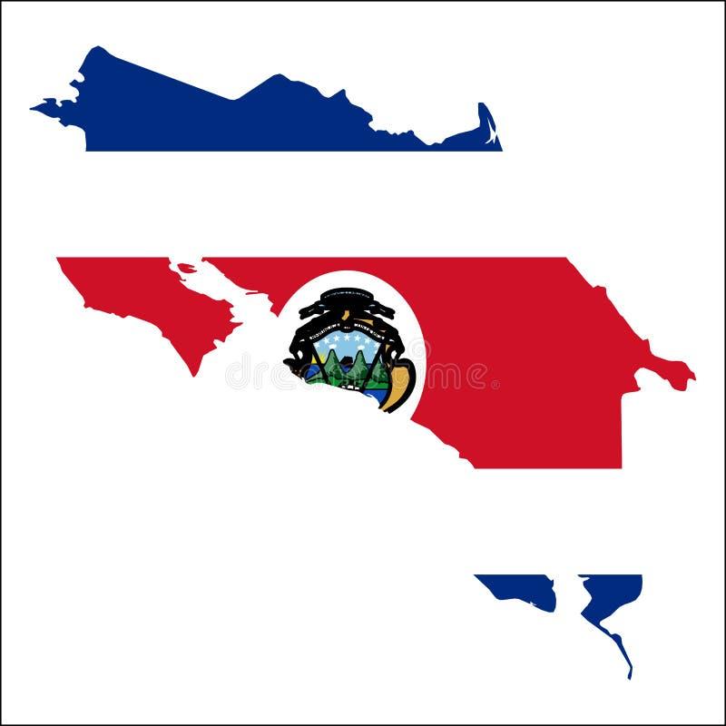 Costa Rica hög upplösningsöversikt med nationsflaggan royaltyfri illustrationer