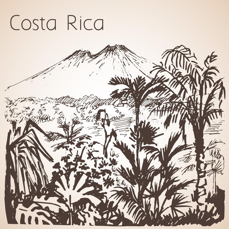 Costa Rica hand drawn landscape. Sketch. royalty free illustration