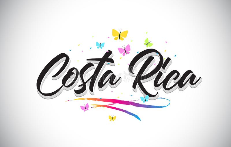 Costa Rica Handwritten Vector Word Text with Butterflies and Colorful Swoosh stock illustration