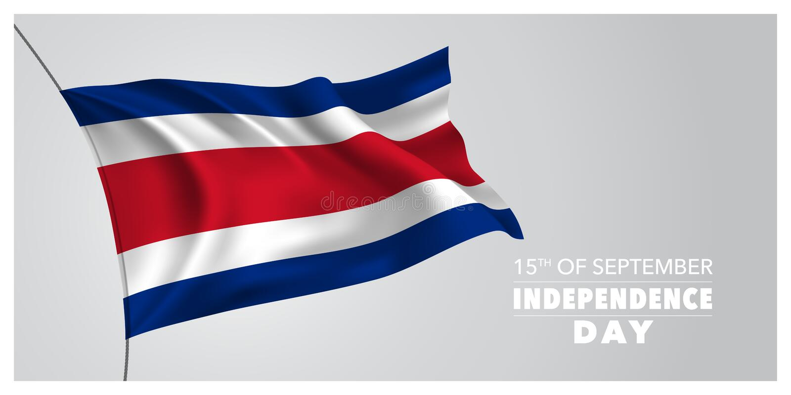 Costa Rica happy independence day greeting card, banner, horizontal vector illustration stock illustration