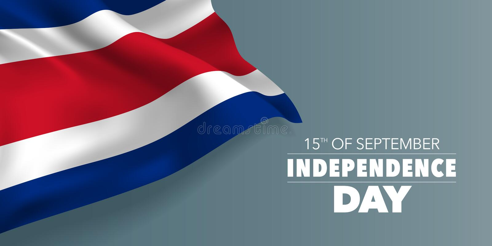 Costa Rica happy independence day greeting card, banner with template text vector illustration royalty free illustration