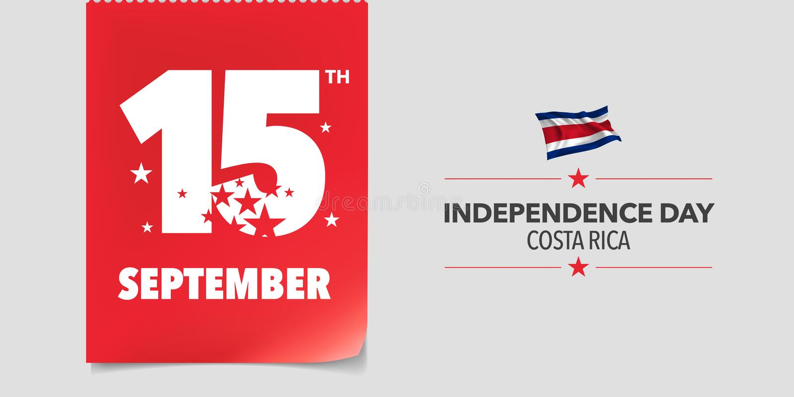 Costa Rica happy independence day greeting card, banner, vector illustration vector illustration