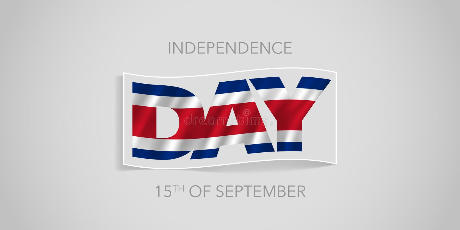 Costa Rica happy independence day vector banner, greeting card royalty free illustration