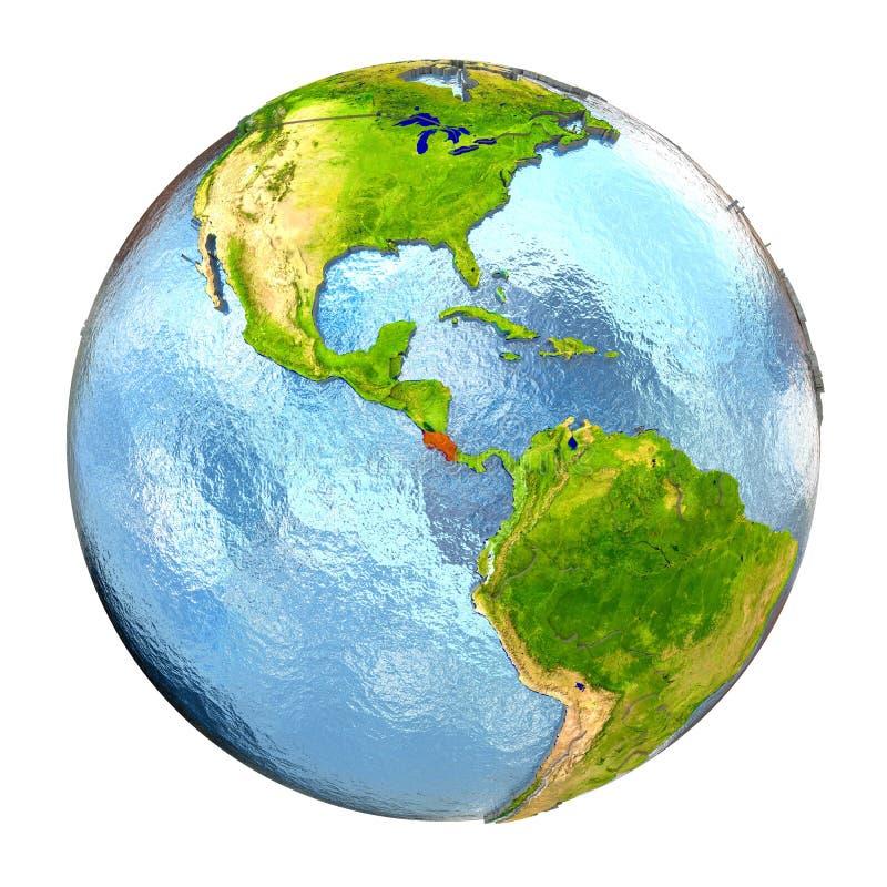 Costa Rica i rött på full jord stock illustrationer