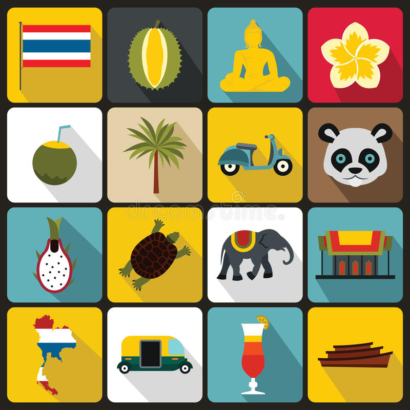 Costa Rica icons set, flat ctyle. Costa Rica icons set in flat ctyle. Republic of Costa Rica set collection vector illustration stock illustration