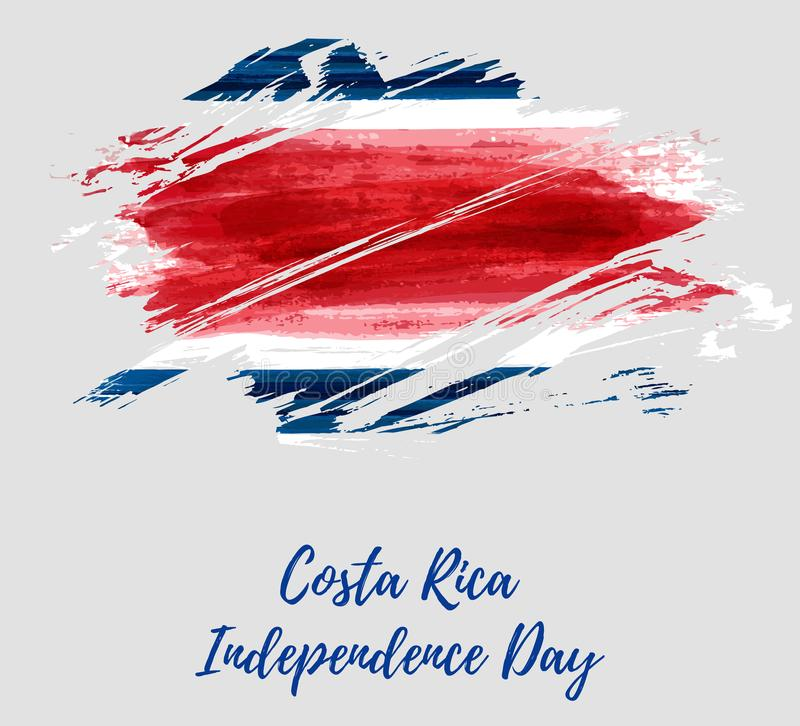 Costa Rica Independence Day. Abstract watercolor paint flag of Costa Rica. Template for national holiday background, poster, banner, invitation, etc stock illustration