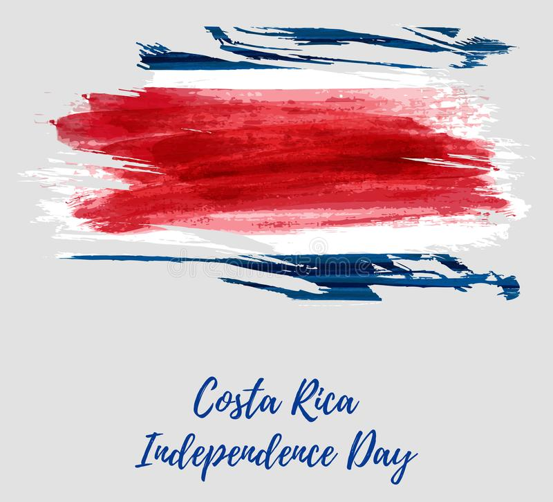 Costa Rica Independence Day. Abstract watercolor paint flag of Costa Rica. Template for national holiday background, poster, banner, invitation, etc royalty free illustration