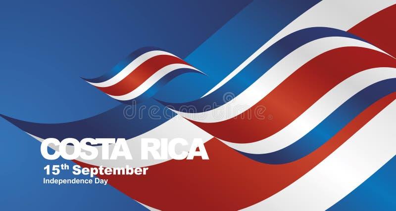 Costa Rica Independence Day flag ribbon landscape background vector illustration