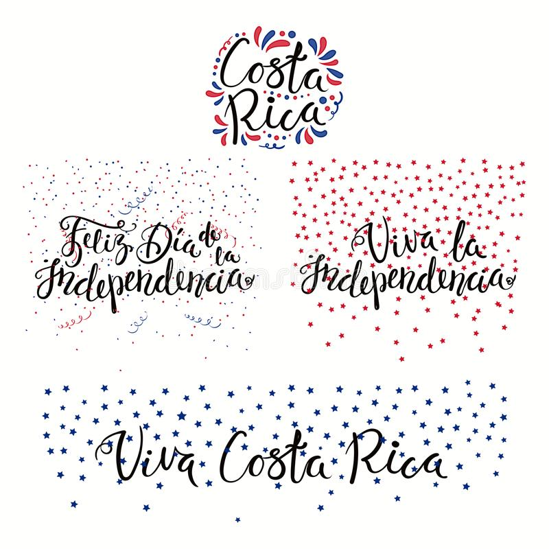 Costa Rica Independence Day quotes stock illustration