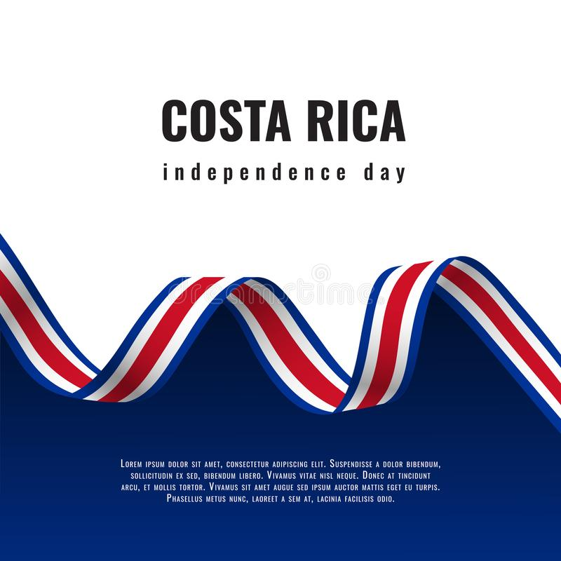 Costa Rica Independence Day ribbon banner illustration vector illustration