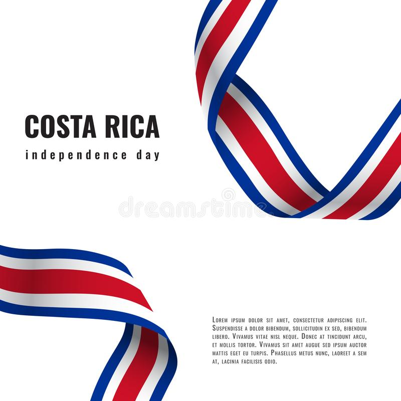 Costa Rica Independence Day ribbon banner illustration. Costa Rica Independence Day ribbon banner vector stock illustration
