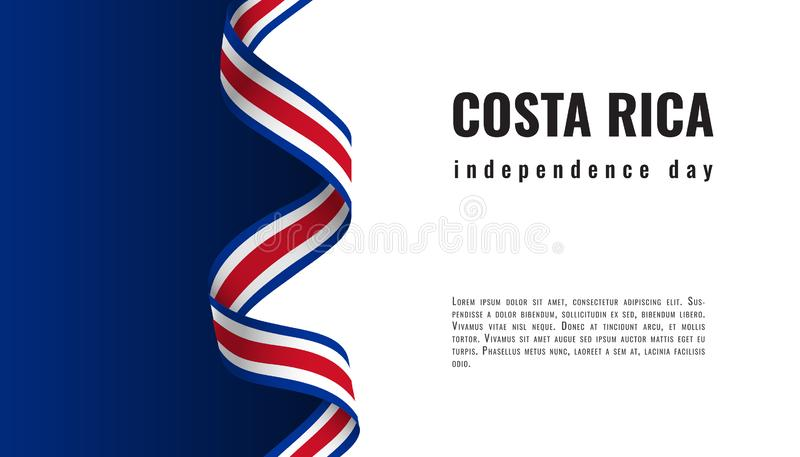 Costa Rica Independence Day ribbon banner illustration. Costa Rica Independence Day ribbon banner vector royalty free illustration