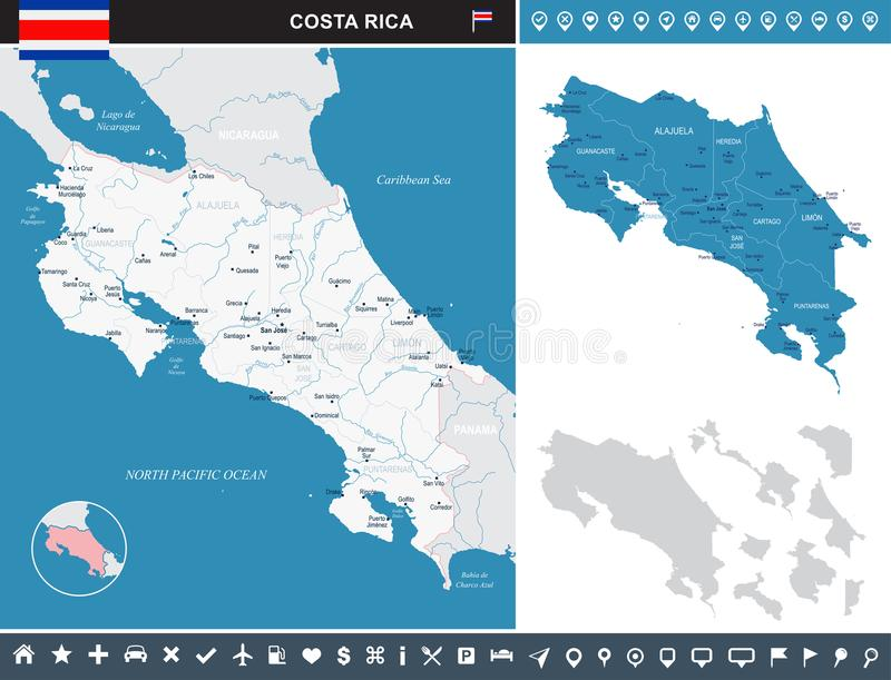 Costa Rica - infographic mapa - Szczegółowa Wektorowa ilustracja ilustracji