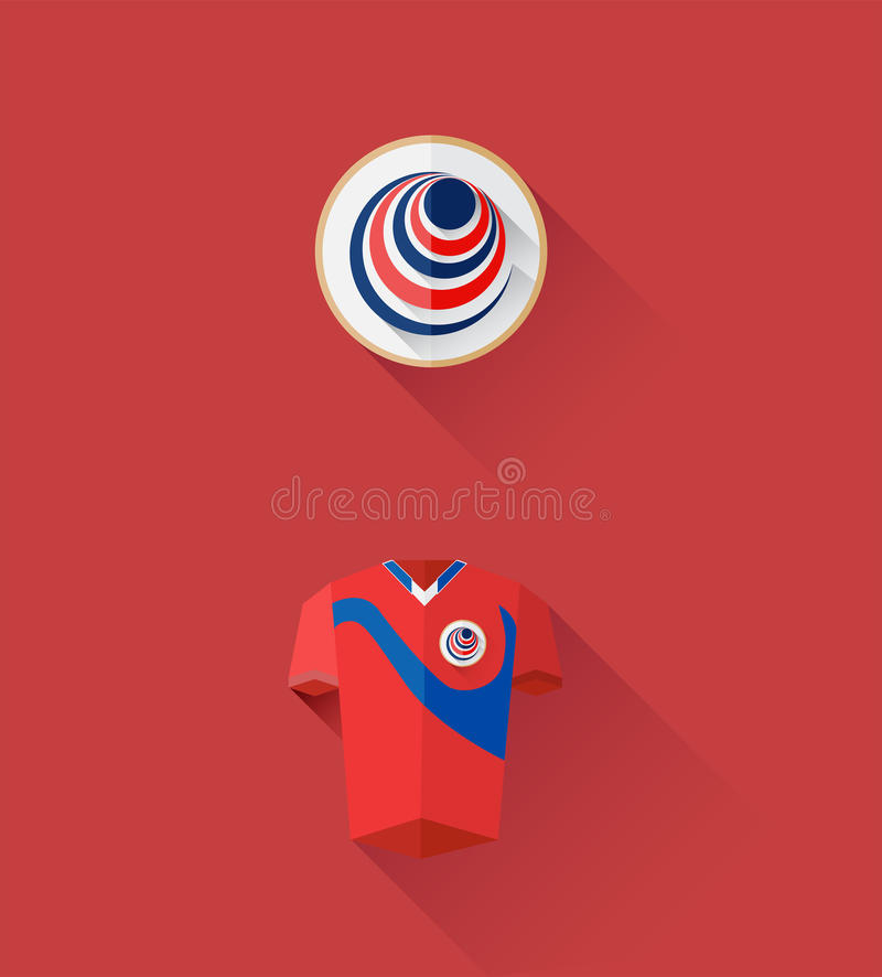 Costa rica jersey and crest vector. Digitally generated costa rica jersey and crest vector stock illustration