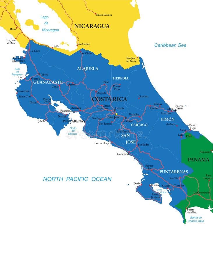 Costa Rica-kaart royalty-vrije illustratie