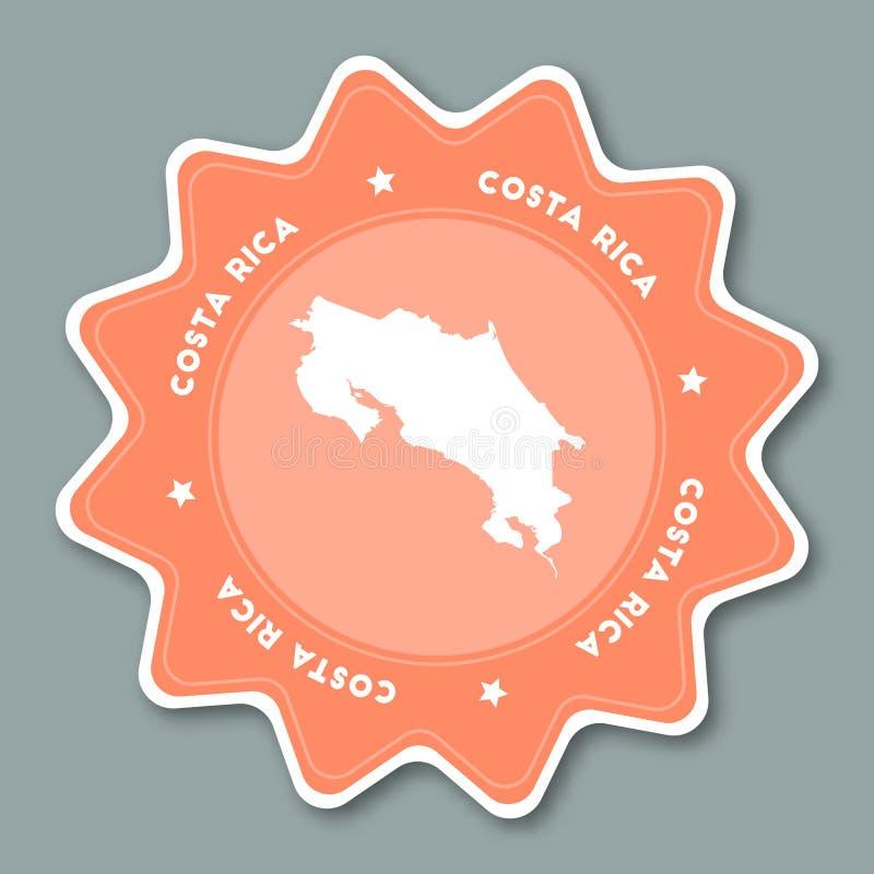 Costa Rica-Kartenaufkleber in den modischen Farben lizenzfreie abbildung