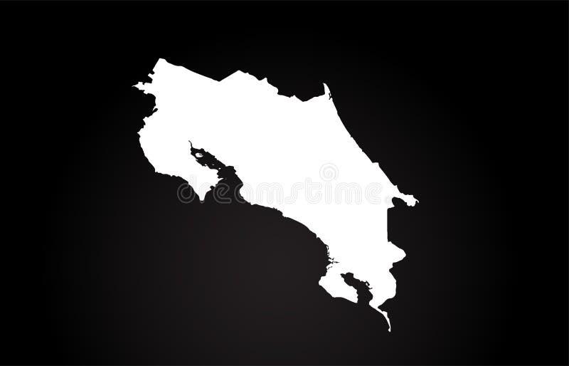 Costa Rica kraju granicy mapy logo czarny i biały projekt ilustracji