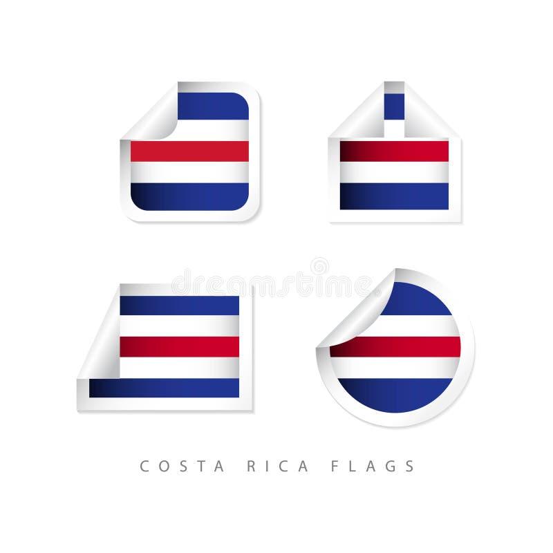 Costa Rica Label Flags Vector Design illustration vektor illustrationer