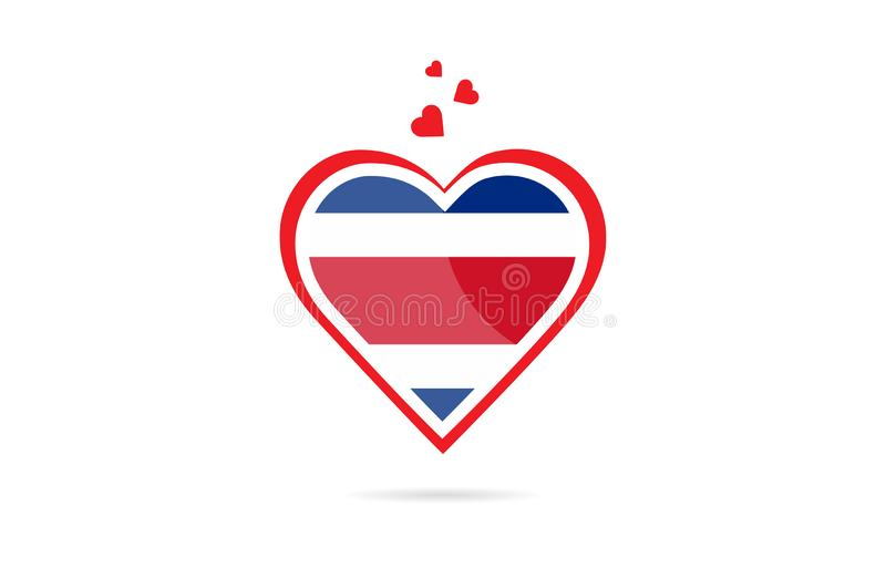Costa Rica landsflagga inom design för logo för förälskelsehjärta idérik stock illustrationer