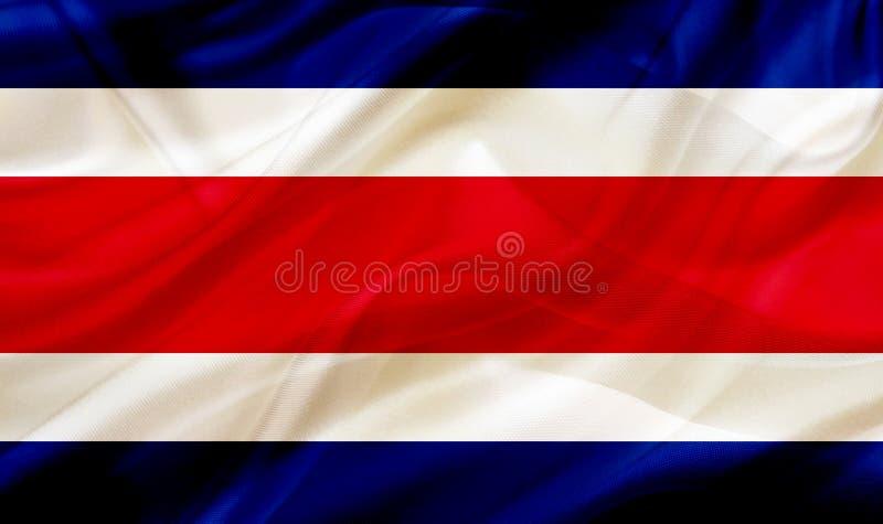 Costa Rica landsflagga på siden- eller silkeslen vinkande textur vektor illustrationer