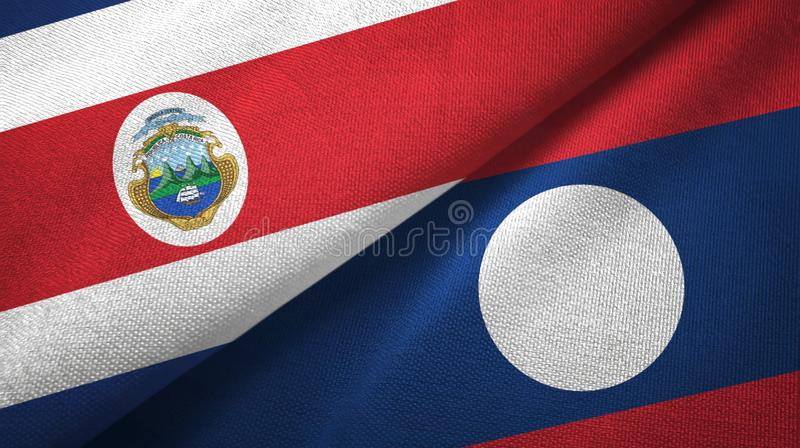 Costa Rica and Laos two flags textile cloth. Costa Rica and Laos two folded flags together stock illustration