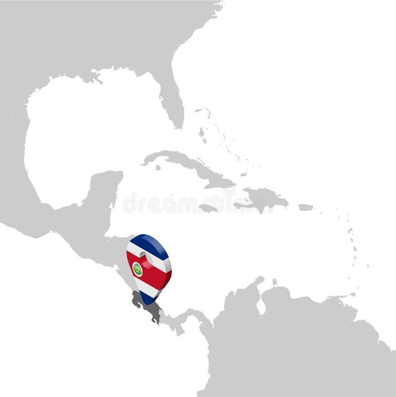 Costa Rica Location Map på översikten Central America för flaggaöversikt för 3d Costa Rica stift för läge för markör H?gkvalitati stock illustrationer