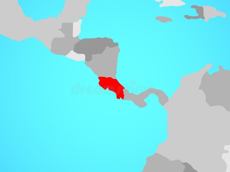 Costa Rica on map vector illustration