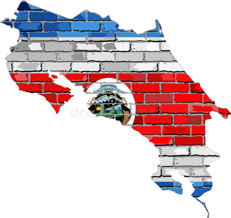 Costa Rica map on a brick wall. Illustration, Costa Rica map with flag inside stock illustration