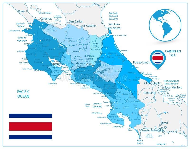 Costa Rica Map In Colors Of blått vektor illustrationer
