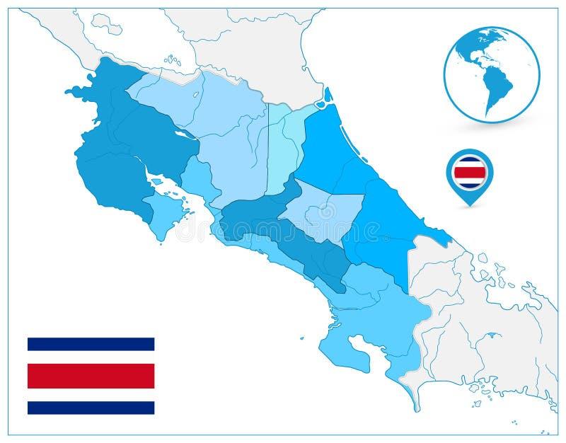 Costa Rica Map In Colors Of blått ingen text stock illustrationer