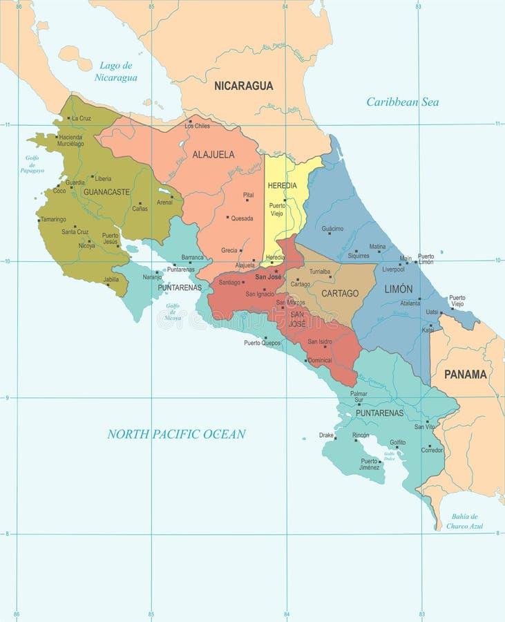 Costa Rica Map - detaljerad vektorillustration royaltyfri illustrationer