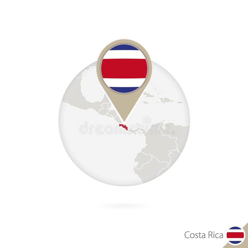 Costa Rica map and flag in circle. Map of Costa Rica, Costa Rica flag pin. Map of Costa Rica in the style of the globe. stock illustration