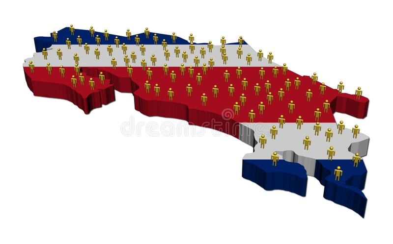 Download Costa Rica Map Flag With People Stock Illustration - Image: 19516656