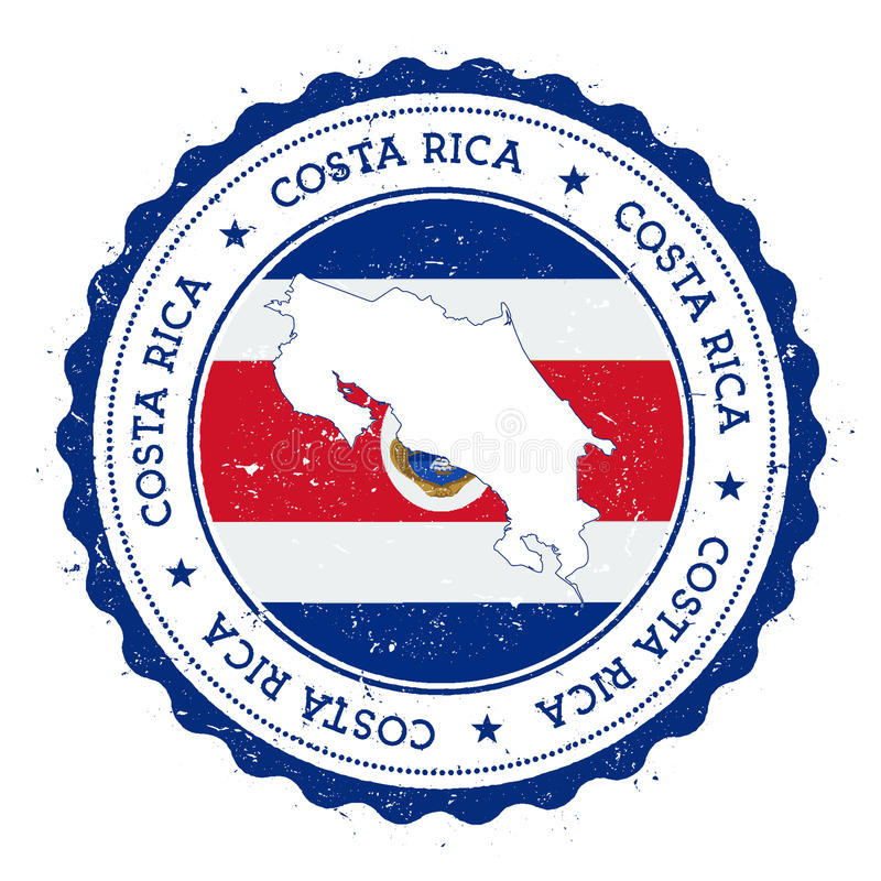 Costa Rica map and flag in vintage rubber stamp. Costa Rica map and flag in vintage rubber stamp of state colours. Grungy travel stamp with map and flag of royalty free illustration