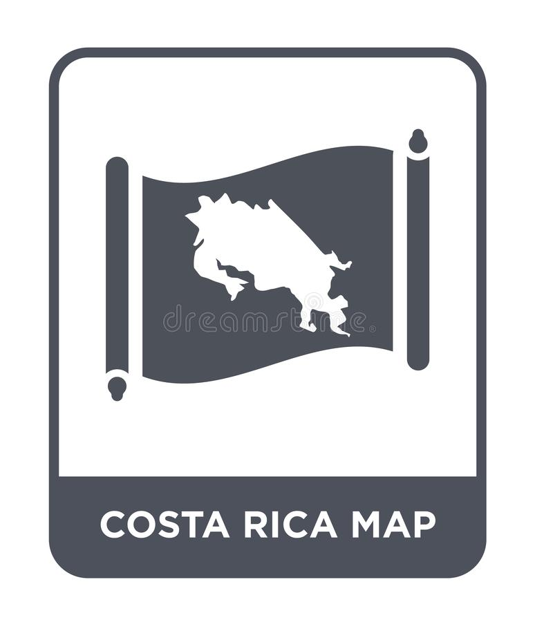 Costa rica map icon in trendy design style. costa rica map icon isolated on white background. costa rica map vector icon simple. And modern flat symbol for web stock illustration