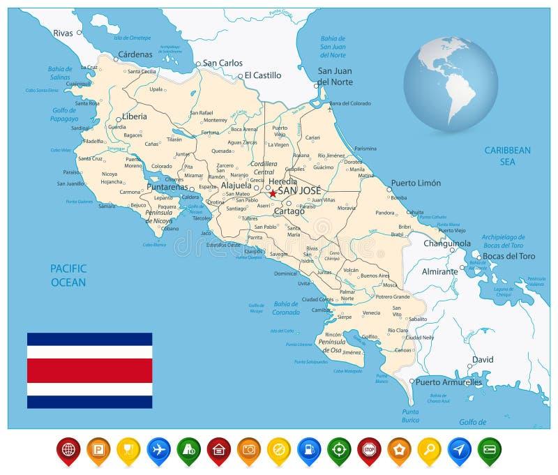 Costa Rica Map och färgrika översiktsmarkörer vektor illustrationer