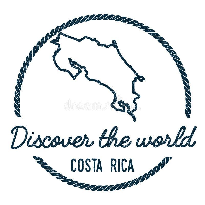Costa Rica Map Outline Tappning upptäcker stock illustrationer