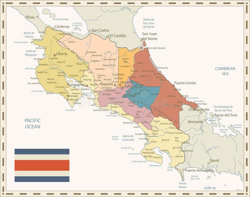 Costa Rica Map Retro Colors stock illustrationer