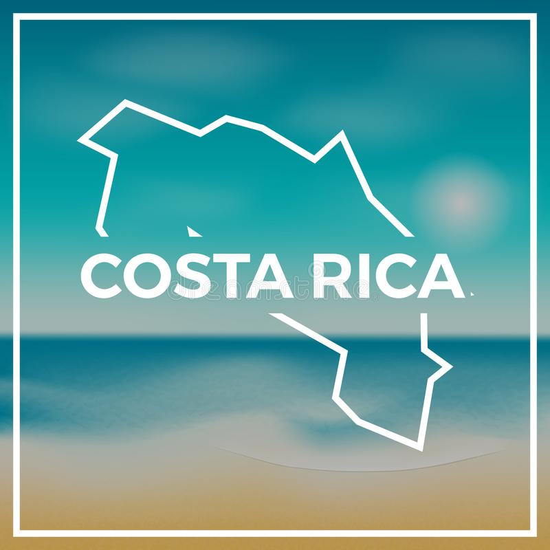 Costa Rica map rough outline against the backdrop. royalty free illustration