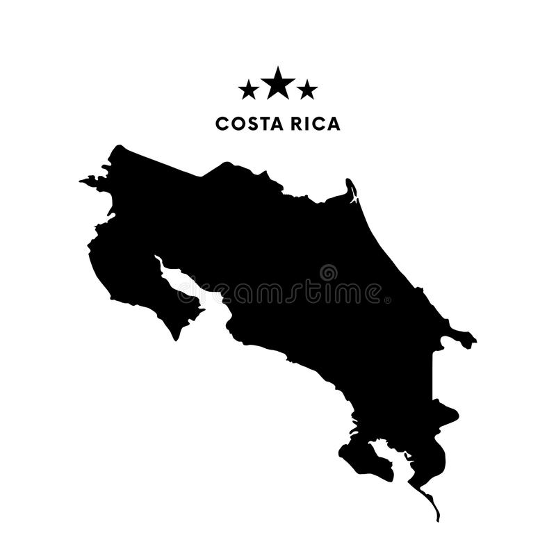 Costa Rica map. Vector illustration. Costa Rica map. Stars with text royalty free illustration