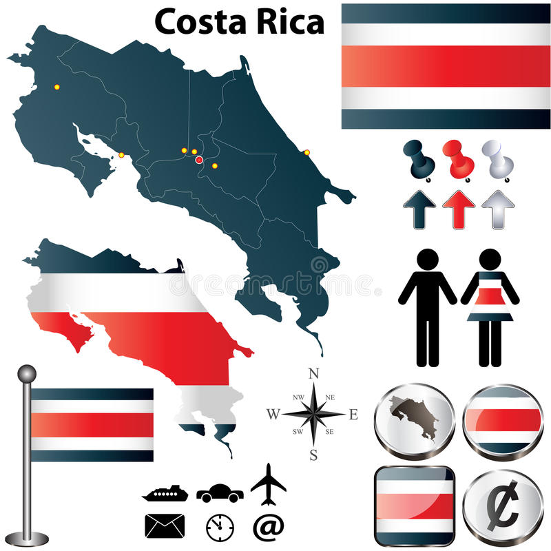 Costa Rica map. Vector of Costa Rica set with detailed country shape with region borders, flags and icons royalty free illustration