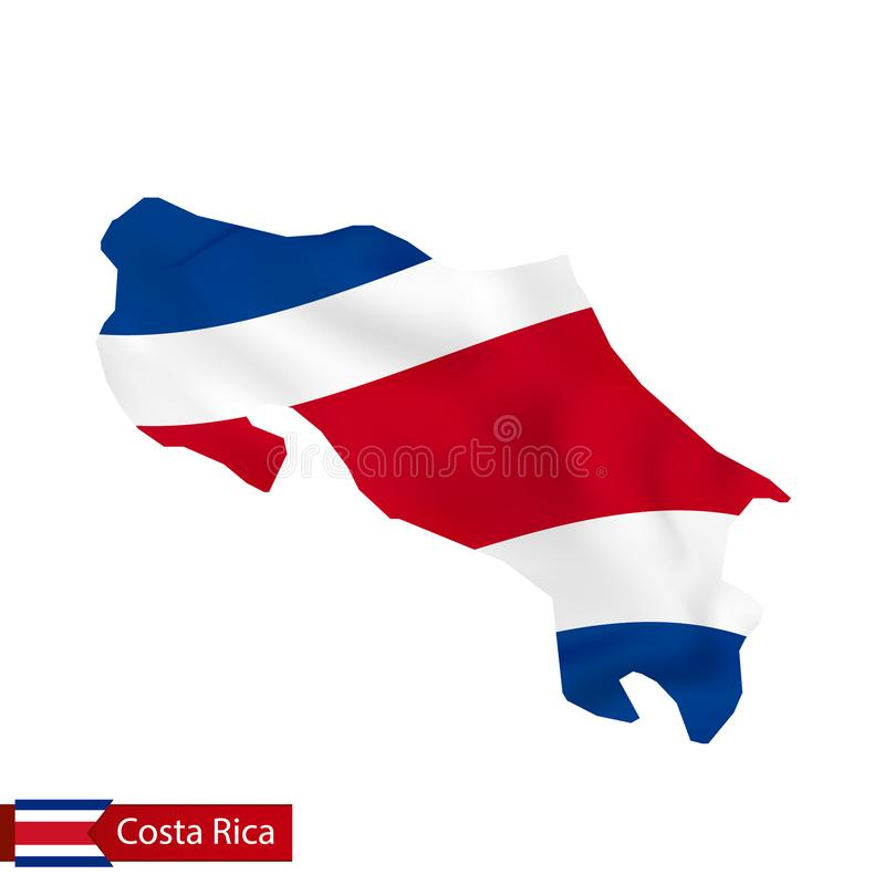 Costa Rica map with waving flag of country. Vector illustration royalty free illustration