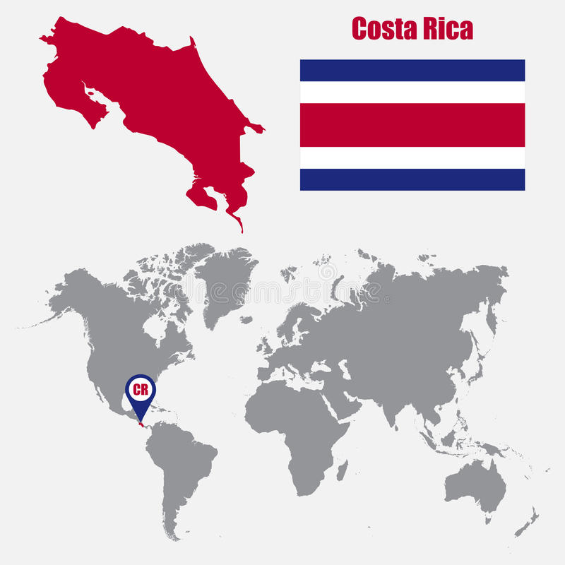 Costa rica map on a world map with flag and map pointer vector download costa rica map on a world map with flag and map pointer vector illustration gumiabroncs Image collections