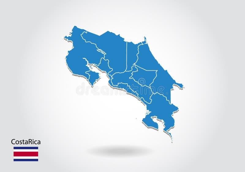 Costa Rica mapy projekt z 3D stylem Błękitna Costa Rica flaga państowowa i mapa Prosta wektorowa mapa z konturem, kształt, kontur ilustracji