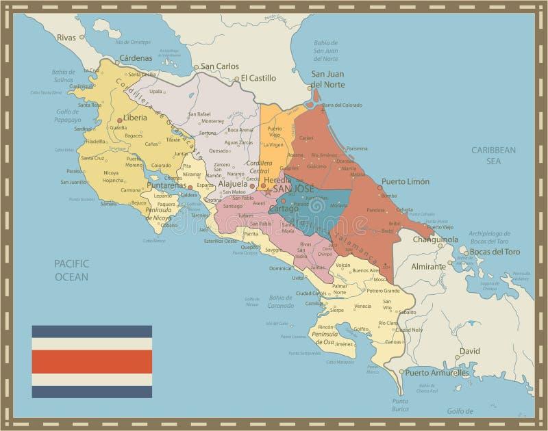 Costa Rica mapy rocznika kolory ilustracja wektor