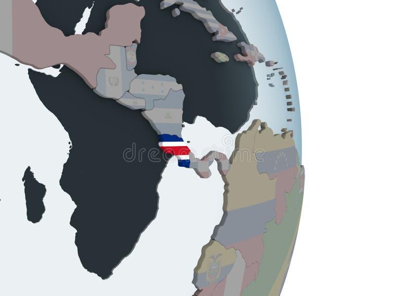 Costa Rica med flaggan på jordklotet royaltyfri illustrationer