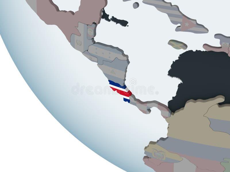 Costa Rica med flaggan på jordklotet stock illustrationer