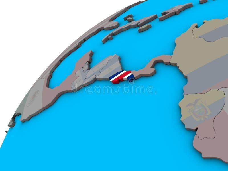 Costa Rica med flaggan på jordklotet 3D royaltyfri illustrationer